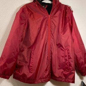 NWT Totes Large Red Fleece Lined Hooded Jacket